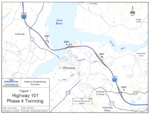Map of the Twinning of Highway 101 at Windsor and Falmouth